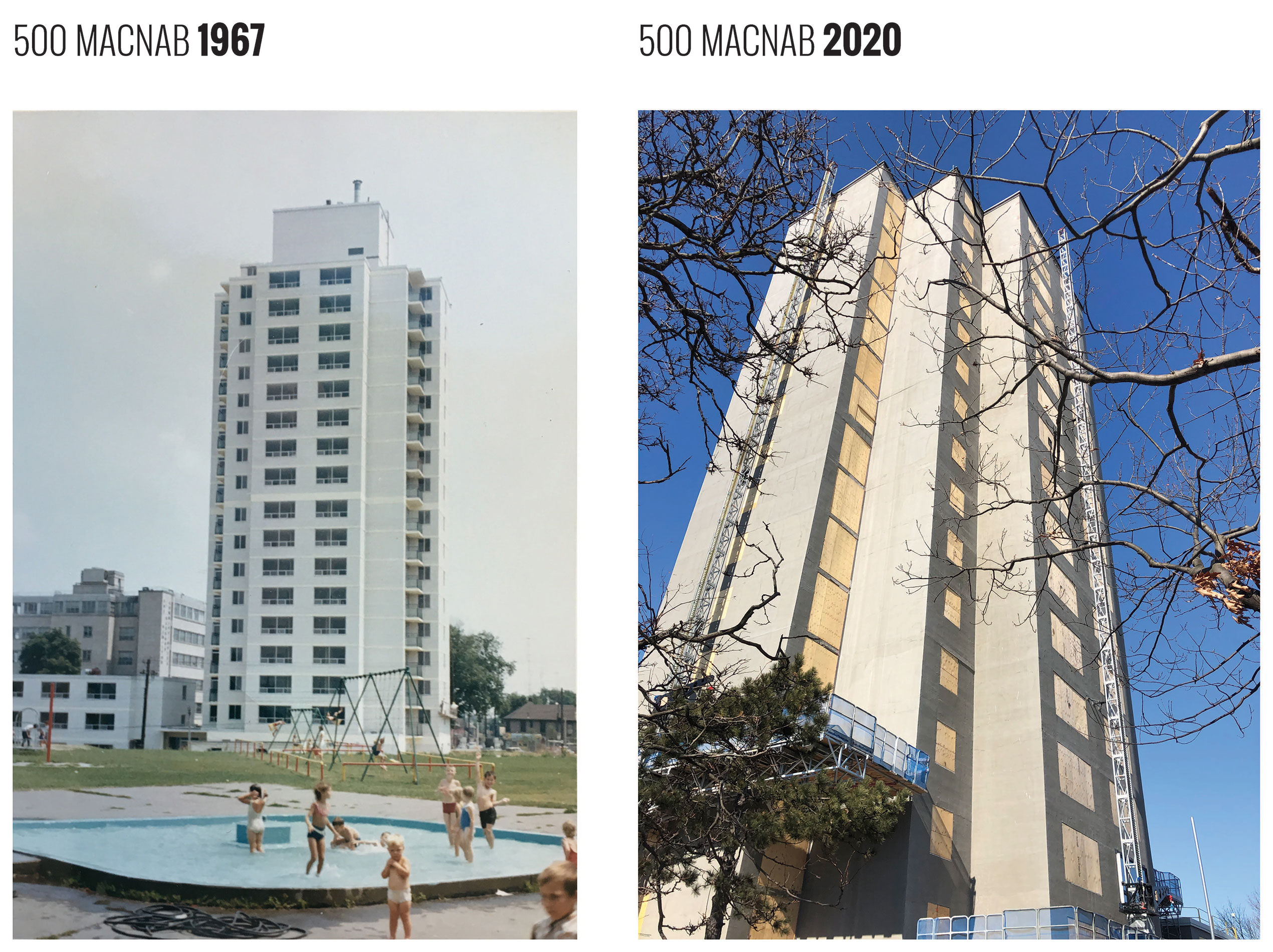 Ken Soble Tower in 1967 compared to 2020