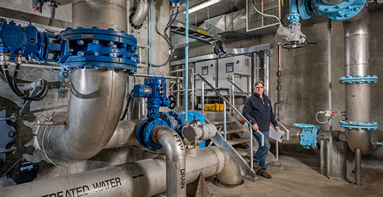 Photograph of the inside a water treatment plant.