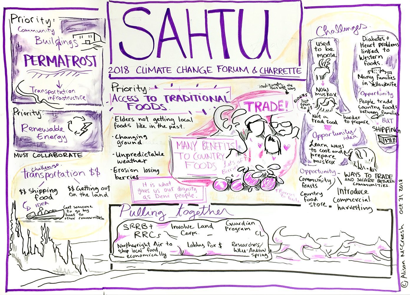 Charrette depicting the Sahtu Region's climate priorities. Credit: Alison McCreesh