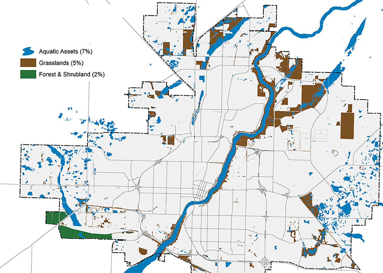 Aerial map of Saskatoon's city limits, broken down into individual neighbourhoods. The grey map features blue, brown, and green areas, representing aquatic assets, grasslands, and forests & shrubbery, respectively. Aquatic assets make up 7% of the map, grasslands make up 5%, and forests shrubbery make up 2%.