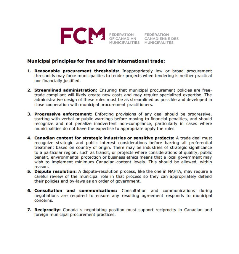 FCM's principles on free and fair trade