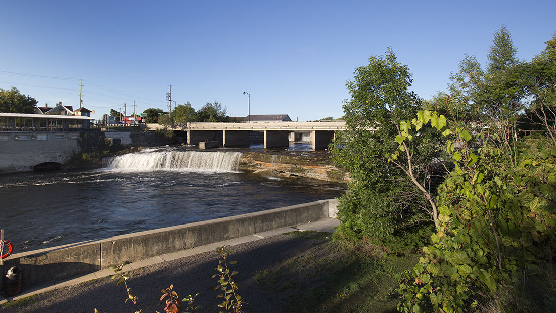 The falls in Fenelon Falls with a small amount of water coming over
