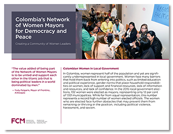 Report cover for the case study about Colombia's Network of Women Mayors for Democracy and Peace