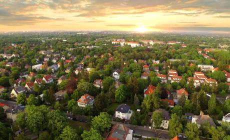 Aerial view of suburban houses