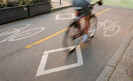 Bicycle lane with cyclist