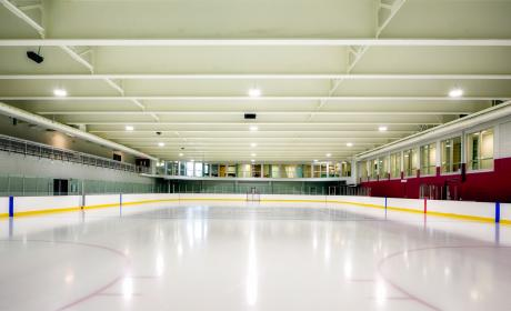 Inside a local skating arena